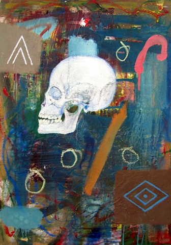 an abstract painting, featuring a skull and american indian symbols
