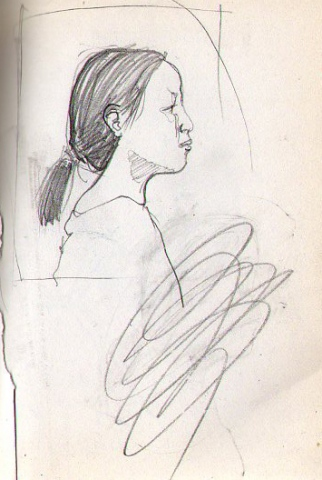 profile of asian girl-page from sketchbook