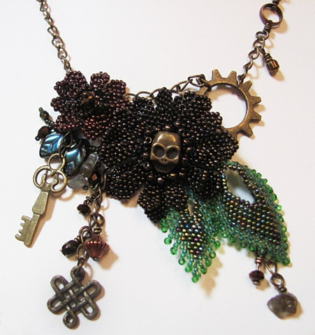 Copper and Green steampunk necklace