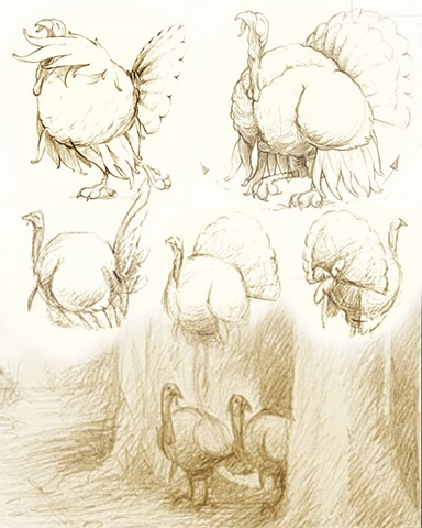 Concept sketches for Tom and Jake, animated short
