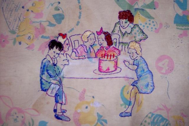 Embrodery on Vintage Childs Blanket