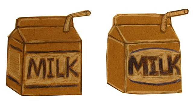 sketch of cardboard Milk cartons