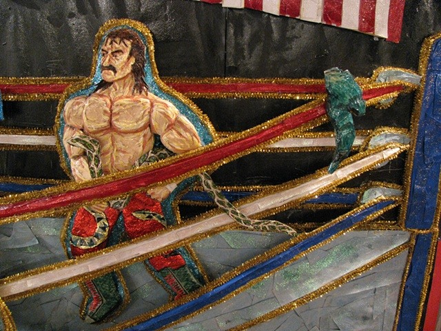 detail ringsmen Jake The Snake Roberts with his snake