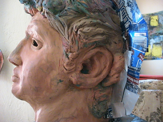 Jeffery Driskill David Mask (clay model separated for the plaster mold)