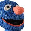 detail of the blue monster