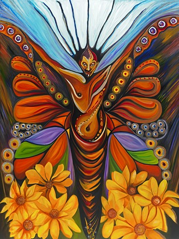A glorious, flamboyant, colorful painting that celebrates change and transformation.