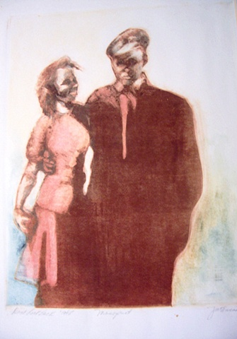 mono print of WWII couple of the 1940's
