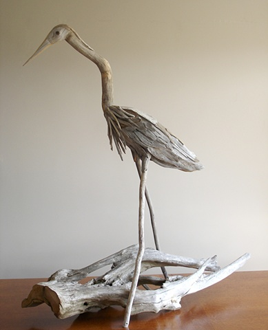 driftwood, sculpture, heron, vincent richel, woodswise, maine, art, artist