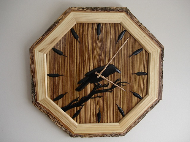 Driftwood sculpture vincent richel clock hand made art fine woodswise owl Woodworking exotic