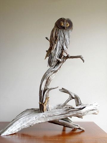 driftwood sculpture vincent richel clock hand made art fine woodswise owl