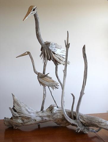 driftwood, heron, vincent richel, woodswise, sculpture, art, maine