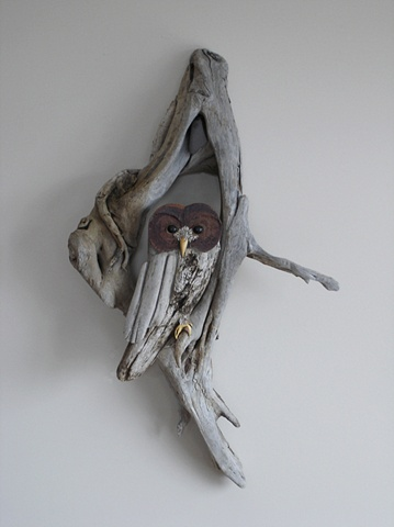 driftwood sculpture vincent richel clock hand made art fine woodswise owl
