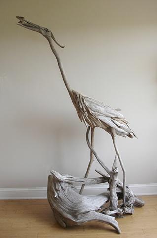 driftwood, sculpture, heron, vincent richel, woodswise, maine, art, artist