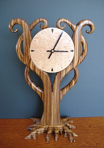 Zebra Wood Clock