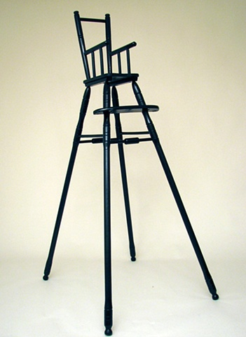contemporary sculpture, wood chair, altered