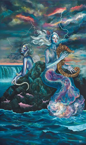 Somber Lullaby of the Sirens laura barnhard oil painting pop surrealism lowbrow bash contemporary