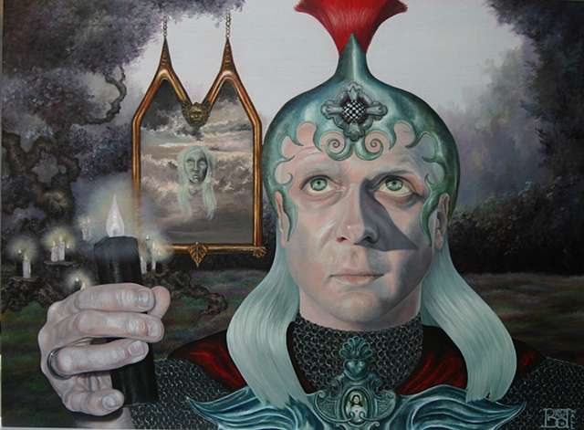 The Warrior laura barnhard bash contemporary gallery pop surrealism oil painting lowbrow