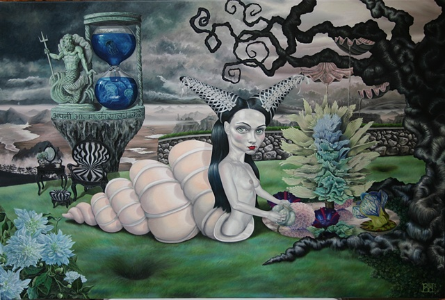 Blissful Abandon laura barnhard bash contemporary gallery oil painting pop surrealism lowbrow