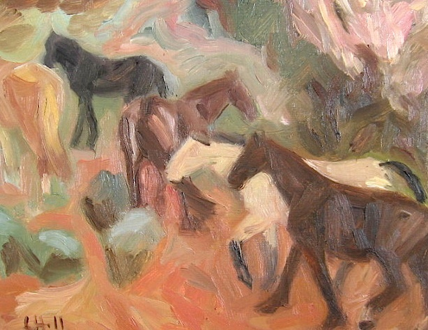 five horses walking