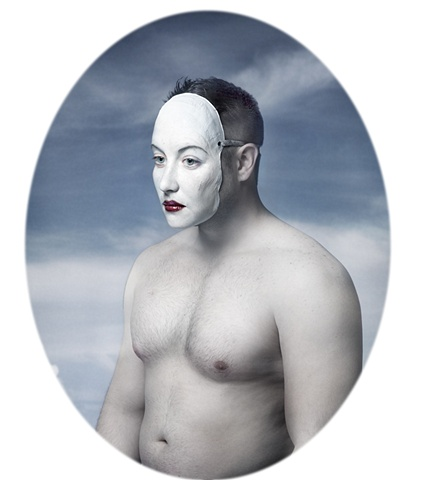 photograph of man wearing a the face of a woman by christopher andres