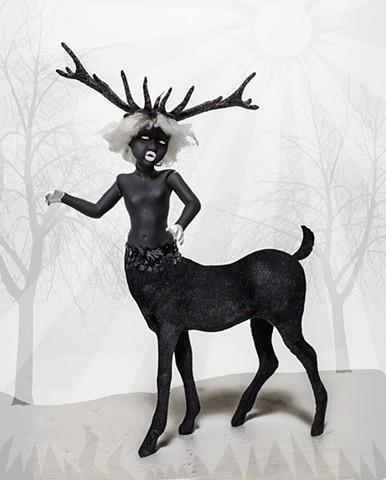 photograph of doll in blackface with a deer body by christopher andres
