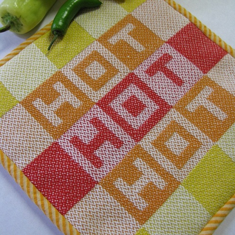 handwoven hot mat, hot pad, drawloom weaving by Kathie Roig