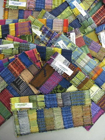 handwoven fabric, recycled fabric, checkbook case, handwoven by Kathie Roig