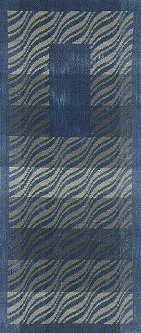 handwoven wall hanging, hand dyed indigo warp and weft, drawloom weaving by Kathie Roig