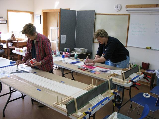 weaving classes, warp painting, off loom warp painting , Kathie Roig