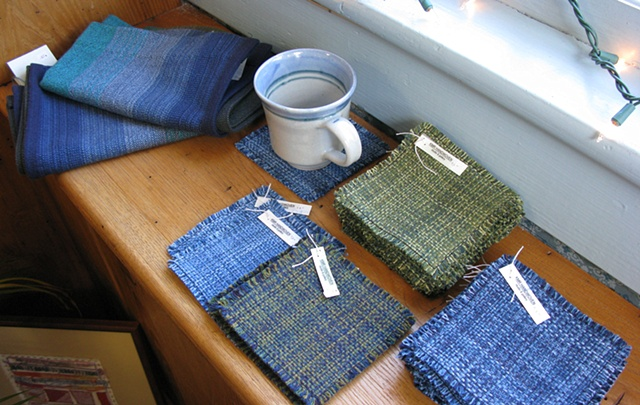 handweaving shop and gallery, towels, coasters, placemats, handwoven by Kathie Roig