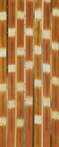 handwoven wall hanging, hand dyed warp and weft, ikat, nature inspriered, handwoven by Kathie Roig