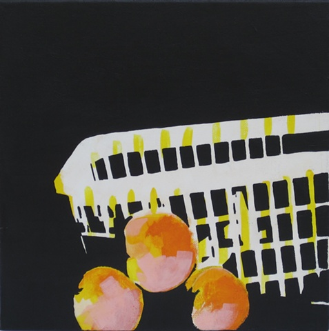 basket and three peaches