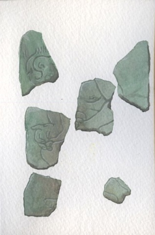 6 archeological fragments, jade, found in the possession of man found dead in the Adirondacks.