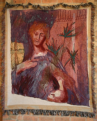 Green Madonna Tapestry