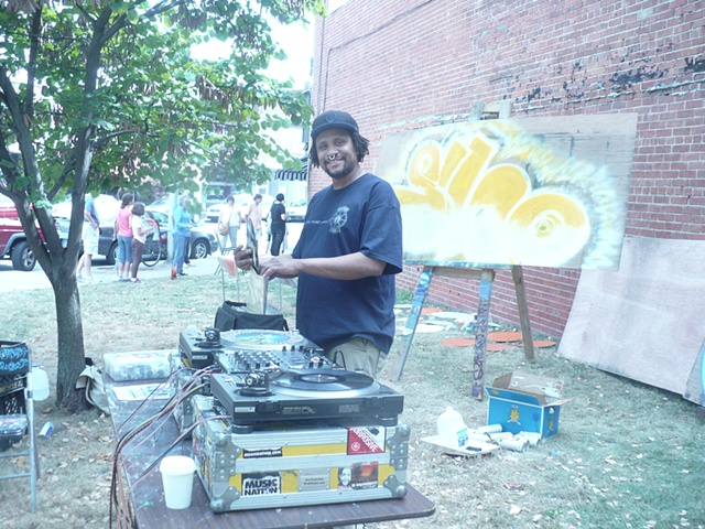 Mike on the turntables during  Master Piece in a Day in  Fountain Square, Indianapolis, IN