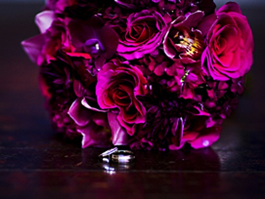 Magenta Bridal Bouquet  Magenta bouquet of roses, dahlias, sweet william, and cymbidium and dendrobium orchids.