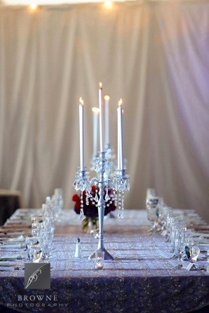 5 Lite Silver Candelabra Head Table