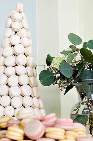 Dessert Table Decor Dessert Table Decor Simple arrangement of seeded eucalyptus and viburnum to accent a tower of Parisan Macarons.