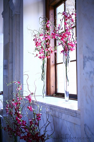 Love4LifePhotos Bay Window Decor Sprays of curly willow intertwined with magenta dendrobium orchids accent large bay windows at the Old Decatur Courthouse.