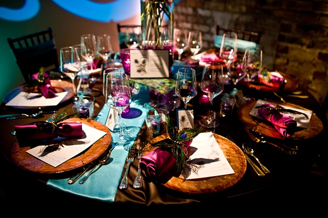 Modern Peacock Table Setting