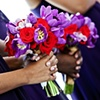 Rich Purple and Red Bridesmaid Bouquets