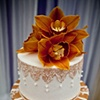 Orange Cymbidium Orchid Cake Topper