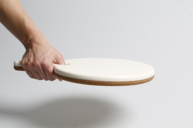 "Cameo Cork Trivet / Corian Food Service  9.5"" diameter Paddle"