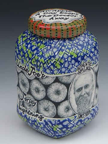 moonshine, ceramics, best of show, alcohol, lidded jar, clay