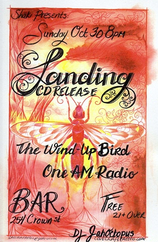 Laura Usowski, Art, Music, Fliers, Landing, The Wind Up Bird, One AM Radio Shaki Presents, Bar New Haven Ct