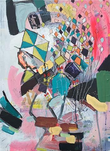 Abstract, Mixed media, pinks, greens, blacks, painting, kites,