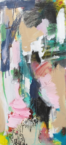 Abstract painting, vertical, colorful