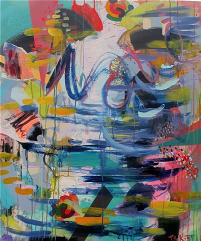 Abstract painting on Canvas, bright, cools, warms, active, energy, mixed media, contemporary