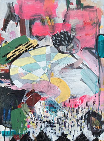 Abstract, bright, pinks, charcoals, movement, biker