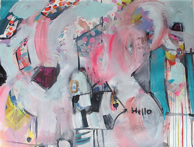 Abstract Painting, Cow, Hello, on Canvas, Unstretched, contemporary, pinks, blues